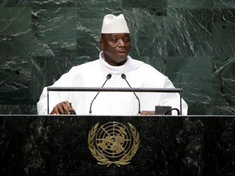 In this September 25, 2014 file photo, Gambia's President Yahya Jammeh addresses the 69th session of the United Nations General Assembly at the United Nations headquarters.