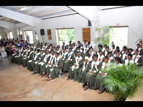 Mile Gully High's graduating class of 2019 during their graduation ceremony at Kendal Camp in Manchester recently.