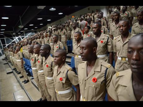 Jamaica National Service Corps members at the Jamaica Defence Force's end-of-programme ceremony for Intake 1702 at Up Park Camp on November 2, 2018.