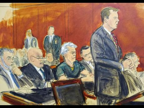 In this courtroom artist's sketch, defendant Jeffrey Epstein (third left) listens as Assistant US Attorney Alex Rossmiller (right) addresses the court during Epstein's arraignment on Monday, July 8, in New York. Epstein pleaded not guilty to federal sex-trafficking charges. The 66-year-old is accused of creating and maintaining a network that allowed him to sexually exploit and abuse dozens of underage girls from 2002 to 2005.