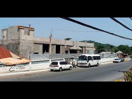 The Port Maria Market now under construction.