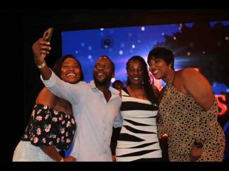 Cast members of 'Ring Games' Season 2 (from left) Stephanie Hazle, Christopher 'Johnny' Daley, Karen Harriott, and Dahlia Harris have a little fun at the private screening held last Friday, July 12, at the TVJ studios.