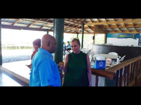 Franscesca Thyssen-Bornemisza, founder of the Alligator Head Foundation, converses with Dr Dayne Buddo, a marine biologist and former chief executive officer of the foundation.