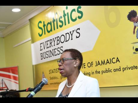 Director General of Statin, Carol Coy, speaks at the release of the quarterly GDP, Inflation and Labour Force Survey data at Knutsford Court Hotel in Kingston on Wednesday, July 17, 2019.