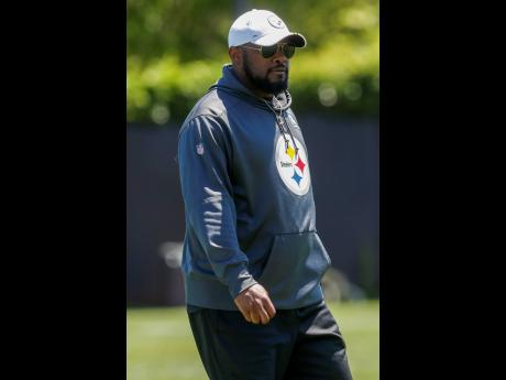 Pittsburgh Steelers head coach Mike Tomlin during an NFL football practice at  the team's training facility on  Tuesday, June 11, 2019, in Pittsburgh.