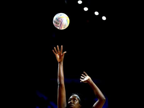 Jamaica's Jhaniele Fowler in action during their Netball World Cup match against Zimbabwe at the M&S Bank Arena, Liverpool, England, on July 19.