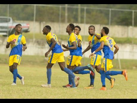 Harbour View's Shemar Nairne (third from left) celebrates a goal with teammates during a Red Stripe Premier League match against the University of the West Indies at the UWI Bowl in St Andrew on Wednesday, January 9, 2019.  The game ended 1-0 in Harbour View FC's favour.