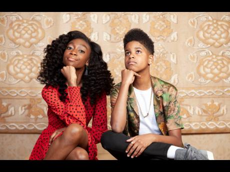 Shahadi Wright Joseph (left) and J.D. McCrary posing for a portrait earlier this month at the Montage Hotel in Beverly Hills, California, to promote their film 'The Lion King'.