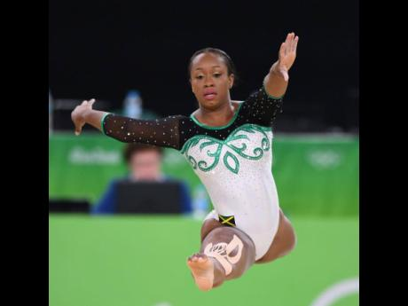 Jamaican gymnast Toni-Ann Williams competing in the floor exercise at the 2016 Olympic Games in Rio de Janeiro, Brazil.