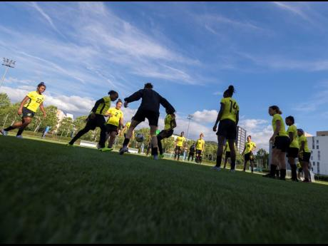 Jamaica's senior women's football team in a recent training session at the FIFA Women's World Cup in France on Sunday, June 16.