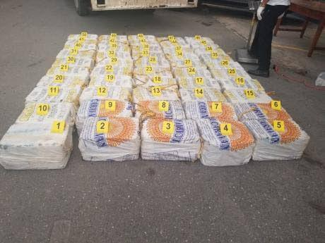 Some of the cocaine seized off the coast of St Thomas yesterday.