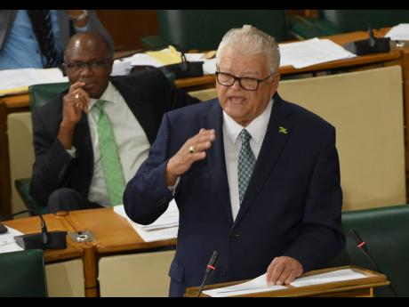 Karl Samuda makes his contribution to the Sectoral Debate in Parliament on Wednesday.