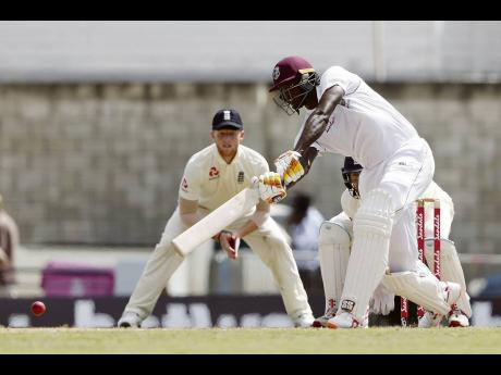Windies captain Jason Holder plays a shot against England during Day Three of their first Test match at the Kensington Oval in Bridgetown, Barbados, earlier this year.