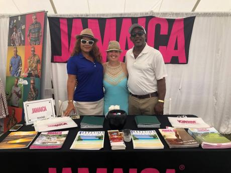 From left: Victoria Harper, business development manager – Northeast USA, Jamaica Tourist Board; Tara D'Agostino-owner of Wanderluxe Destinations, representing Round Hill; and Kenton Senior, business development manager, Jamaica Tourist Board – Northeast USA.
