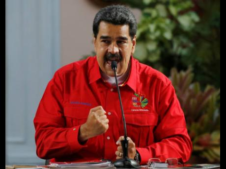 Venezuela's President Nicolas Maduro speaks during the closing ceremony of the Sao Paulo Forum at Miraflores presidential palace in Caracas, Venezuela, Sunday, July 28, 2019.