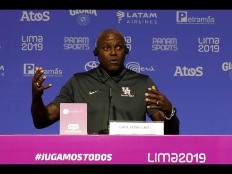 Nine-time Olympic gold medallist Carl Lewis, from the United States, speaks during a press conference during the Pan American Games in Lima, Peru, Monday, August 5, 2019.