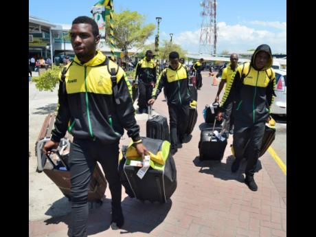 Members of the Jamaica Under-19 Cricket team arrive at the Norman Manley International Airport from the Regional Under-19 Tournament, which was held in St Vincent and the Grenadines.
