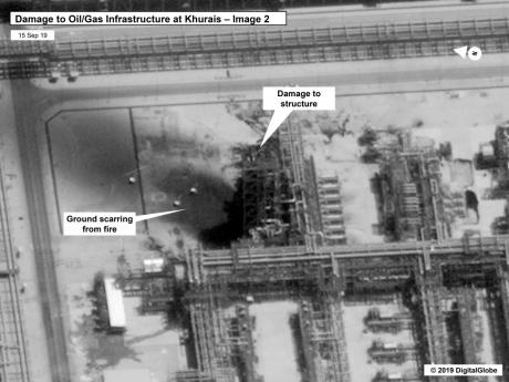 This image provided on Sunday, September 15, 2019, by the United States government and DigitalGlobe, and annotated by the source, shows damage to the infrastructure at Saudi Aramco's Kuirais oil field in Buqyaq, Saudi Arabia. The drone attack Saturday on Saudi Arabia's Abqaiq plant and its Khurais oil field led to the interruption of an estimated 5.7 million barrels of the kingdom's crude oil production per day, equivalent to more than 5% of the world's daily supply.