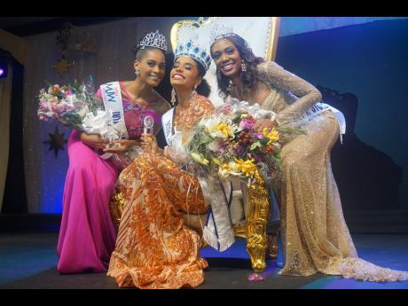 Toni-Ann Singh, Miss Jamaica World 2019,  is flanked by first runner-up Rochelle McKinley (left) and second runner-up Alana Wanliss.