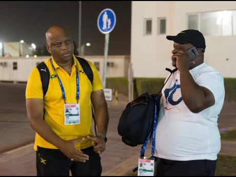 Head coach Maurice Wilson (left) and coach Stephen Francis at the Qatar Sports Club in Doha.