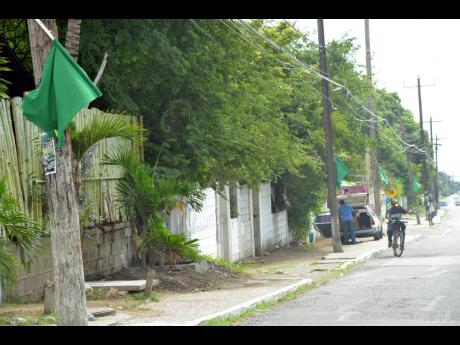 Jamaica Labour Party flags still up along Mountain View Avenue in St Andrew in November 2014, two years after the 2012 local government elections.