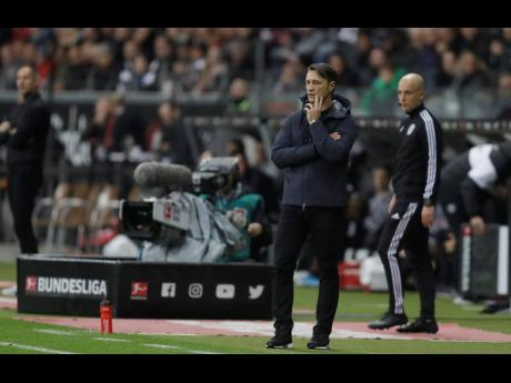Bayern's head coach Niko Kovac reacts as he watches his team play during a German Bundesliga match against Eintracht Frankfurt and Bayern Munich in the Commerzbank Arena in Frankfurt, Germany, Saturday, November 2.