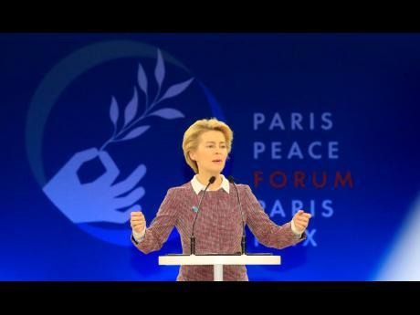 European Commission president Ursula von der Leyen delivers her speech at the start of the Paris Peace Forum Tuesday, November 12, 2019 in Paris.