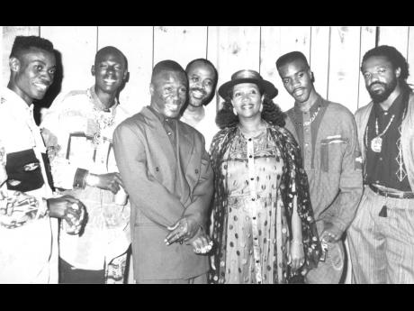 The Penthouse Crew (from left), Wayne Wonder, Buju Banton, Cutty Ranks, Donovan Germaine, Marcia Griffiths, Dave Kelly and Tony Rebel.