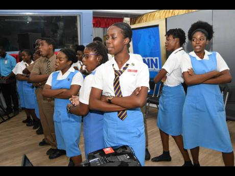 The Ardenne High Choir performing during the launch of the RJRGLEANER/Ardenne High School Mentorship/Internship Programme at Broadcast House on Lyndhurst Road in St Andrew last Wednesday.
