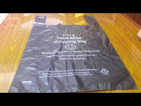 One of the plastic bags issued by a supermarket in Falmouth, Trelawny.