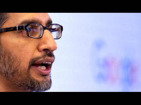 Google CEO Sundar Pichai addresses the audience during an event on artificial intelligence at the Square in Brussels, Monday, January 20, 2020.