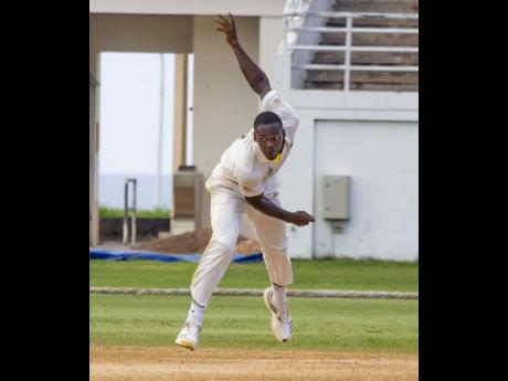 Jamaica Scorpions pace bowler Nicholson Gordon in action against the Leeward Islands Hurricanes during their Cricket West Indies Professional Cricket League Regional Four-Day match at the Trelawny Multi-Purpose Stadium yesterday.