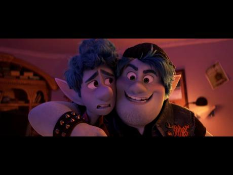 In this image released by Disney/Pixar, Ian Lightfoot, voiced by Tom Holland (left) and Barley Lightfoot, voiced by Chris Pratt, appear in a scene from 'Onward'.