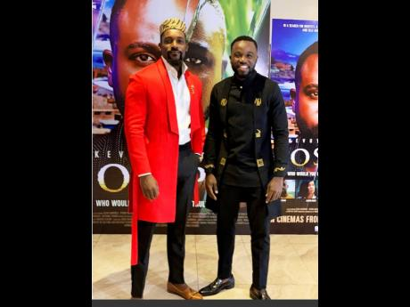 Ghanaian actor and TV presenter Mawuli Gavor (left) and Jamaican actor Kevoy Burton in Nigeria at the premiere screening of their film, 'Joseph', co-written and directed by Marica Weekes.