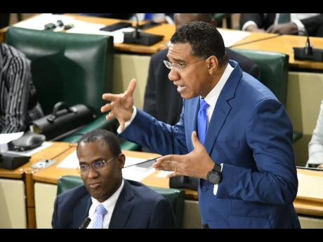 Prime Minister Andrew Holness addressing parliamentarians during his Budget Debate presentation in the House of Representatives in Kingston on Thursday.