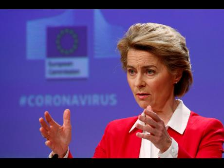 AP European Commission President Ursula von der Leyen speaks during a media conference, detailing EU efforts to limit the economic impact of the Covid-19 outbreak, at EU headquarters in Brussels, on Thursday, April 2.
