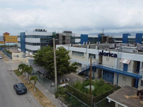An aerial photograph of the Portmore, St Catherine, branch of Alorica, a business process outsourcing firm which has been the epicentre of mass transmission of the new coronavirus.