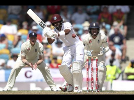 West Indies batsman Shai Hope plays a shot during day one of the first cricket Test match against England at the Kensington Oval in Bridgetown, Barbados, on Wednesday, January 23, 2019.