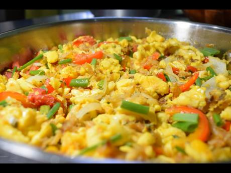 A scrumptious view of a Jamaican fave: ackee and saltfish.