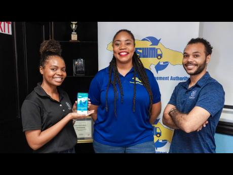 NSWMA Community Relations Manager Kimberley Blair (centre) with Esirom digital systems specialist Tajé Carter (left) and Esirom Director Alex Morrissey at the recent launch of the NSWMA app.