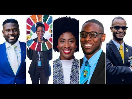 Moderators of Ready Reset Recharge webinar in this photo collage. From left are Tijani Christian, chairperson of the Commonwealth Youth Council; Jhannel Tomlinson, climate activist; Christina Williams, president (2019-2020), Office of The Guild of Students