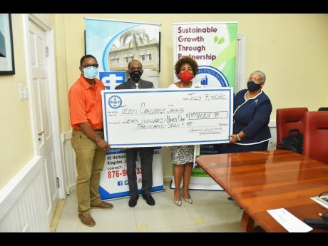 From left: Anthony Richards, executive director, Teen Challenge Jamaica (TCJ); Andre Gooden, business development manager, Jamaica Stock Exchange (JSE) Group; Nora Blake, manager, Jamaica Social Stock Exchange (JSSE); and Marlene Street Forrest, managing d