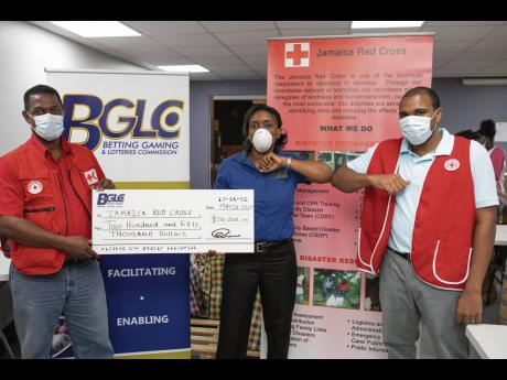 The Jamaica Red Cross received $250,000 from the Betting, Gaming and Lotteries Commission (BGLC) to support its food package programme to assist vulnerable persons in communities across the island.  BGLC's donation was presented to Red Cross Jamaica repr