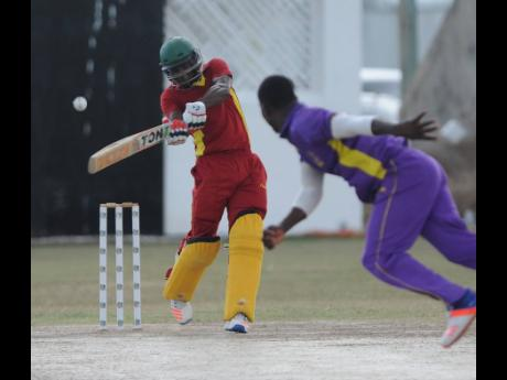 Oraine Williams from St Catherine Cricket Club plays a shot during his innings of 126 runs not out in the final of the Jamaica Cricket Association's all- island 50 overs competition against Kingston Cricket Club at Chedwin Park in 2017.