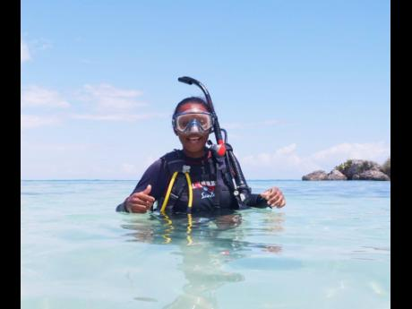Shari Kelly after a scuba-diving session in Negril, Jamaica.