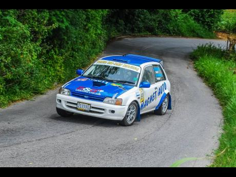 Matthew Gore at a past tarmac rally in his Toyota Starlet 'JA2 Warrior'.
