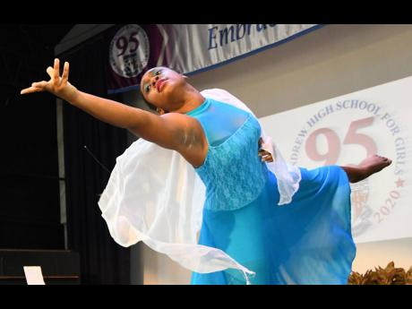 Anna Myers of the St Andrew High Dance Troupe performs at a ceremony in celebration of the school's 95th anniversary under the distinguished patronage of Dorothy Pine-McLarty on Monday.