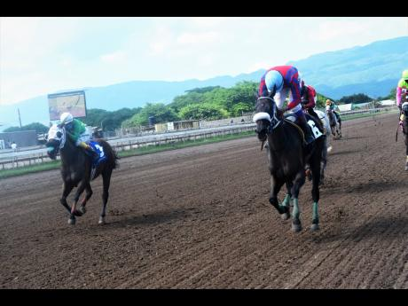 BUCKALUCK (right), ridden by Anthony Thomas, wins the Norman Manley Memorial Cup over SMOKEY TOPAZ, ridden by Roger Hewitt, at Caymanas Park yesterday.