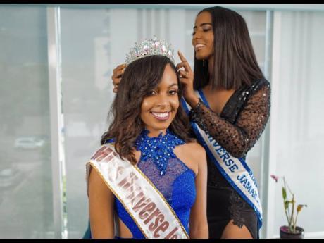Reigning Miss Universe Jamaica Iana Tickle Garcia crowning Miss Universe Jamaica East, Alexia Royal Eatmon.