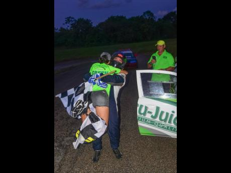 Watching her son, Fraser winning the Driver Championship was too much for Stephanie McConnell as she celebrates with husband/father Peter.